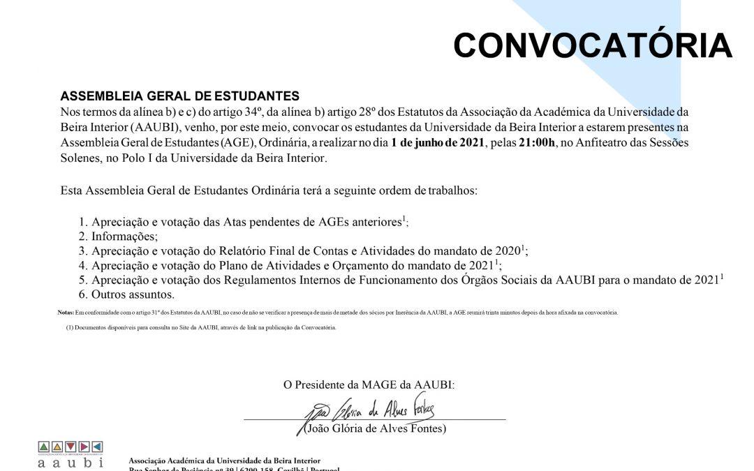 Convocatória Assembleia Geral de Estudantes 1 de junho de 2021